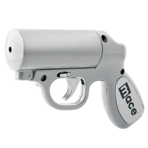 Mace Pepper Gun Silver With Barrel Tilted To The Left