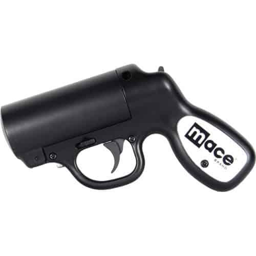 Mace Pepper Gun With Strobe LED Black Left Side View