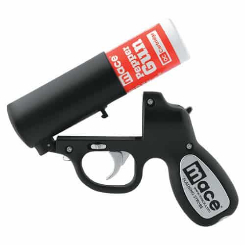 Mace Pepper Gun With Strobe LED Black Open
