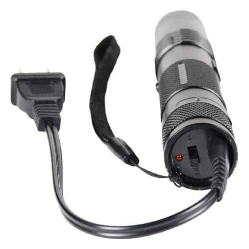 BashLite 15,000,000 Volt Stun Gun Flashlight Black With Charger Attached