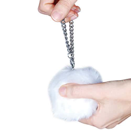 Fur Ball Buzzer Personal Alarm White In Hand