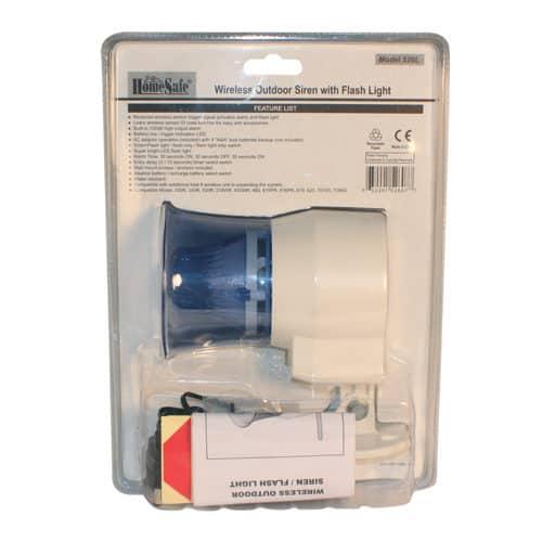 HomeSafe Wireless Outdoor Siren Blister Pack Rear View
