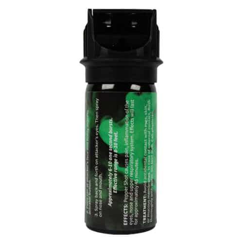 Pepper Shot 1.2% MC 2 oz Pepper Spray Back Side View