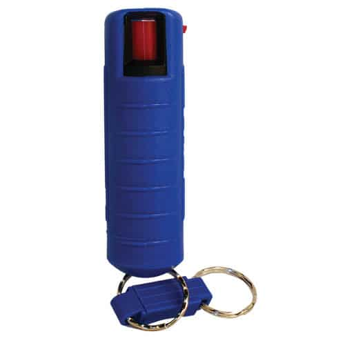 Pepper Shot 1.2% MC 1/2 Oz Pepper Spray Hard Case Belt Clip and Quick Release Key Chain Blue Front View