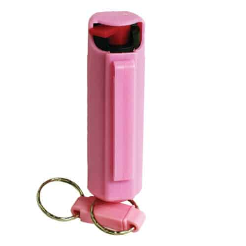 Pepper Shot 1.2% MC 1/2 Oz Pepper Spray Hard Case Belt Clip and Quick Release Key Chain Pink Side View