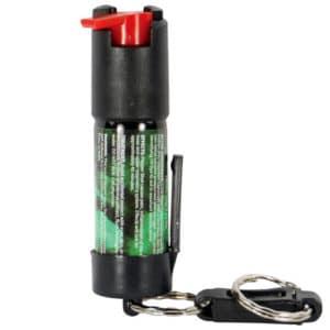 Pepper Shot 1.2% MC 1/2 oz Pepper Spray Belt Clip and Quick Release Key Chain Rear View